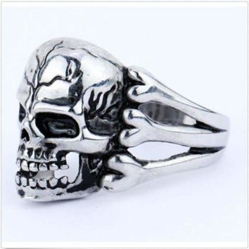 PEAPU3S 2015 Man's Ring Gothic Men's Skull Flower Biker Zinc alloy Ring Man fashion rings Free shipping