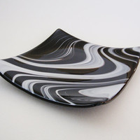 Black and White Swirl Fused Glass Sushi Dish - Square Plate - Decorative Plate