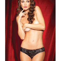 Show Girl Rear Glittering Sequins Hipster W-ruched Back & Satin Bow Black Sm