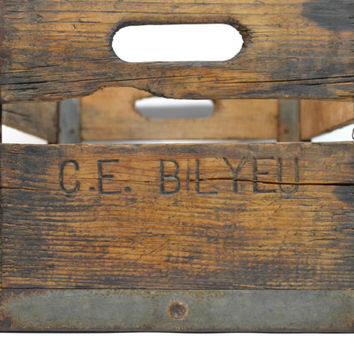 Vintage Antique Wood Milk Crate C.E. Bilyeu Farmhouse Decor Shabby Chic Decor Industrial Minimalist Country Heavy Duty