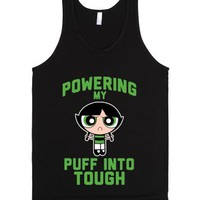 Powering My Puff into Tough 2-Unisex Black Tank