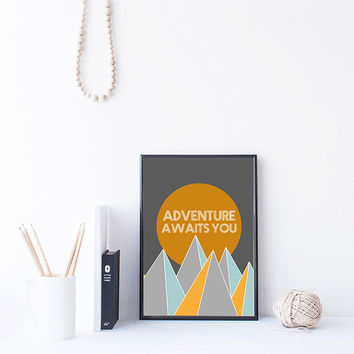 Adventure Quote Printable, Adventure Awaits, Mountain Art Printable, Boho Wall Art, Instant Download Art, Printable Wall Art, dorm wall art