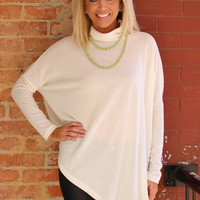 Better Together Poncho Style Tunic With Asymmetrical Hem ~ Ivory ~ Sizes 4-12