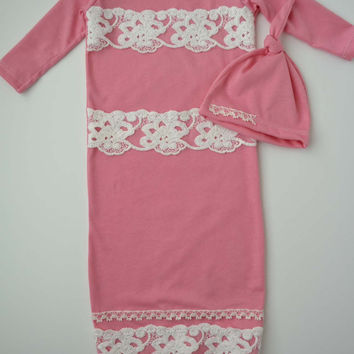 Baby Girl Gown. (Take home set or baby gift) Pink with cream with Lace.   (Made by lippybrand)