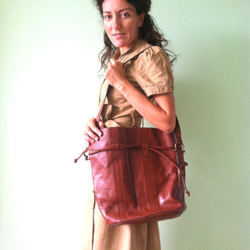80s Convertible Bag, Cognac Brown Hobo, Toffee Shoulder Bag, Back to School Purse, Business Office Hobo, Hexagona Paris Bag, Made in France