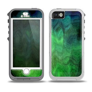 The Vivid Green Sagging Painted Surface Skin for the iPhone 5-5s OtterBox Preserver WaterProof Case