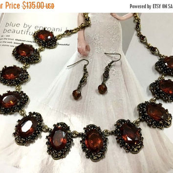Vintage inspired jewelry set, Topaz crystal necklace earrings,Victorian crystal necklace statement, wedding jewelry set, formal jewelry