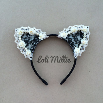 Ariana - Cat Ears Headband - Kawaii Floral Ears Nekomimi Sweet Lolita Gyaru Rave