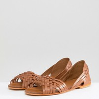 ASOS DESIGN Juna Wide Fit Leather Summer Shoes at asos.com