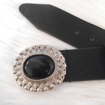 Vintage Black and Silver Brazilian Leather Belt ~ Ladies Medium ~ Silver and Onyx Black