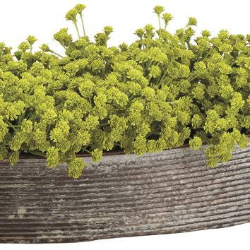 Lifelike Baby's Breath Floral Arrangement in Decorative Oval Container