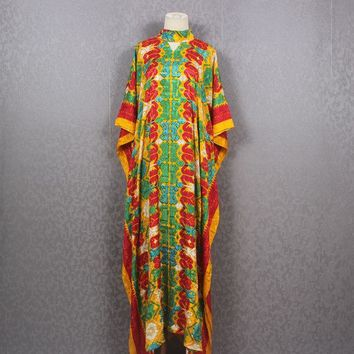 Kimono Caftan Dress Yellow Gold Batik Traditional Japan Style Handmade Dress
