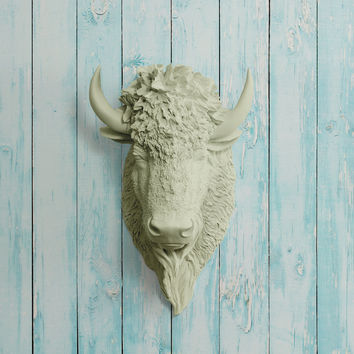 The Yellowstone Sage Green Faux Bison Head