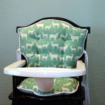 Birch Organic Elk Family Eddie Bauer High Chair Cushions, High Chair Pads, High Chair Cover, Highchair Pads, High Chair Cover