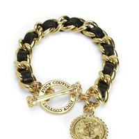 STATUS COIN LEATHER AND CHAIN BRACEL