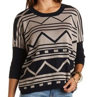 Oversized Geo Pullover Sweater by Charlotte Russe - Navy Blue Cmb