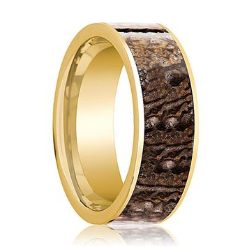 Dinosaur Bone Ring - Brown Dinosaur Bone - Flat Polished 14K Yellow Gold - Polished Finish - 8mm - 14k Gold Wedding Ring