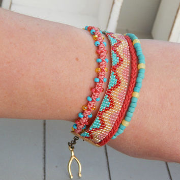 Coral and Blue Stack Bracelet arm party, Stacking friendship bracelet, bead loom stack bracelet