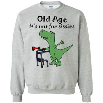 funny cool t-rex dinosaur using walker old age art T-Shirt