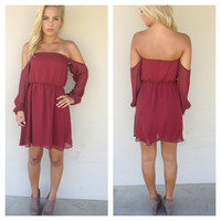Burgundy Chiffon Off Shoulder Dress