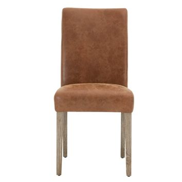 Lattice Dining Chair Distressed Chestnut Leather (Set of 2)
