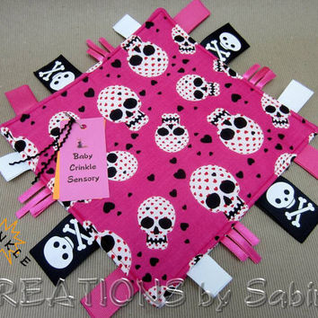 Baby Tag Blanket, Crinkle Sensory, Ribbon Tag Toy, Pink, Black, Red, White, Skulls, Hearts, Padded READY TO SHIP 94
