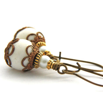 Gold White Coral Earrings Antique Gold Brass Drop Dangle Earrings Semi Precious Stone Jewelry White Pearl Gold Earrings