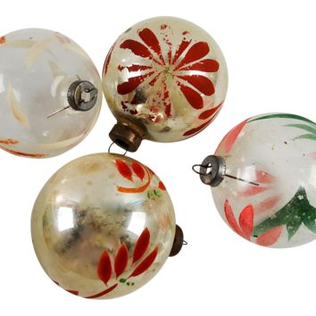 Vintage Silver & Clear Hand Painted Christmas Ornaments - Set of 4