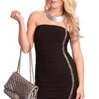 Black Strapless Chain Link Ruched Sexy Mini Dress