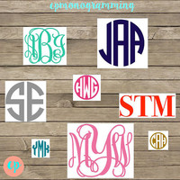 Monogrammed Sticker Vinyl Decal, Monogrammed Sticker, Monogram Vinyl Decal for Car, Laptop, Notebook, Bridesmaid Gift, Birthday Gift