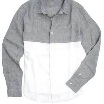 Vince Smoke and White Melrose Colorblock Shirt