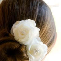 Vintage Wedding Hair Piece Bridal Hair Piece Bridal Headpiece (includes 2 Ivory hair pins) Vintage Style theme Wedding Flowers