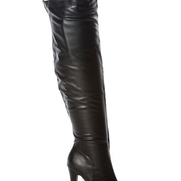Black Faux Leather Thigh High Platform Boots @ Cicihot Boots Catalog:women's winter boots,leather thigh high boots,black platform knee high boots,over the knee boots,Go Go boots,cowgirl boots,gladiator boots,womens dress boots,skirt boots.