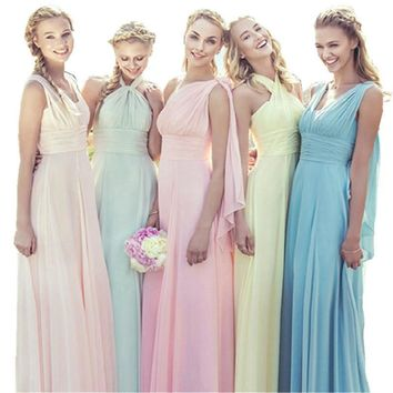 Dusty Blue Bridesmaid Dresses Chiffon Fall Winter Bridesmaid Dress Cheap Prom Vestido De Festa De Casamento Long-Party-Dress