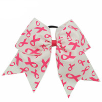 Allow Over Pink Breast Cancer Support Cheerleading Bows  Handmade Hair Accessories 3Pcs/lot