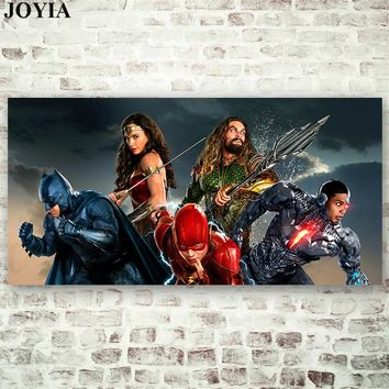 Justice League Movie Poster Superheroes Wall Art Large Canvas Picture The Flash Aquaman Superman Wonder Woman Batman Cyborg
