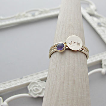 SOLID 14kt Gold Ring, Personalized Ring, Initial Ring, Gift, Personalized Jewelry, Amethyst Ring, Amethyst Jewelry, 14k, Engraved Ring, GOLD