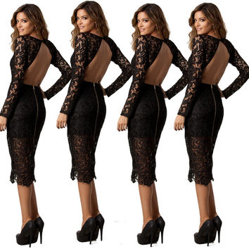 Black Lace Backless Cut Out Long Sleeve Bodycon Midi Slit Dress