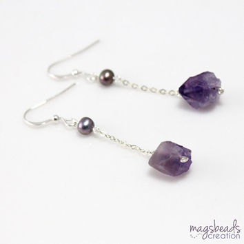 Long Chain Earrings, Rough Amethyst Earrings, Lavender Purple Jewelry, Raw Amethyst Stone Jewellery. Sterling Silver, Light