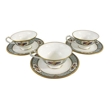 Noritake Royal Emblem Tea Cups & Saucers, Fine Bone China, Vintage China, Service for 3