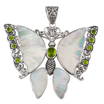 Peridot Butterfly With Shell Wings Sterling Silver Pendant