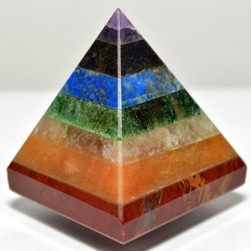 RAINBOW CHAKRA PYRAMID Stone : Chakra Alignment, Energy Healing, Enhancement, Vitality, New Age, Yoga, Crystal Healing, Meditation