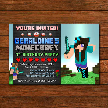 Minecraft Girls Design Invitation