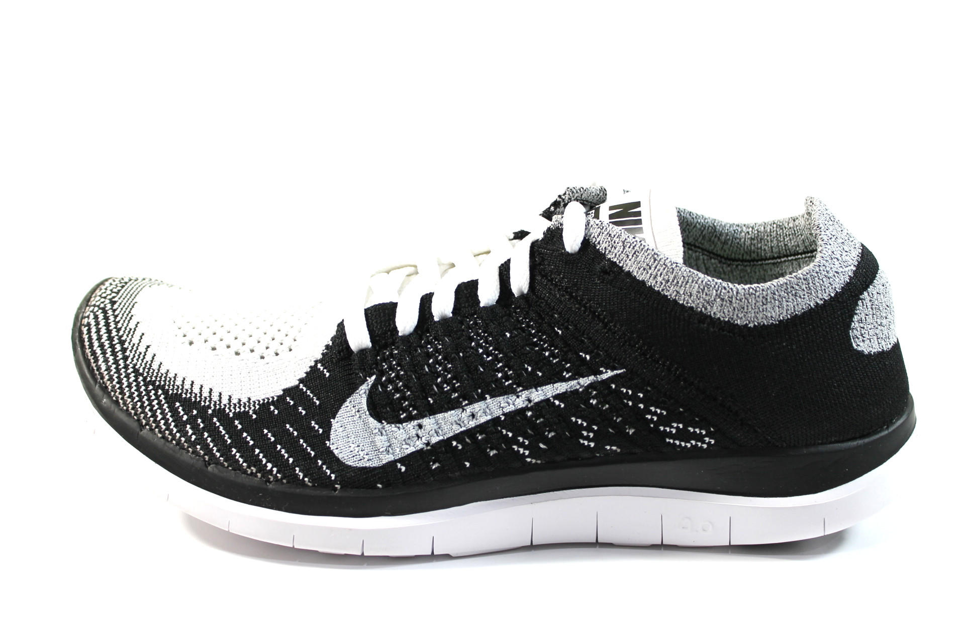 Nike Men s Free Flyknit 4.0 White Black Running Shoes 631053 100 fa94fd1f1c01