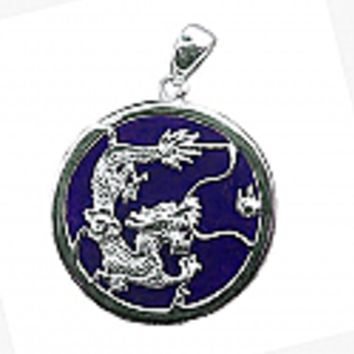 Lapis Lazuli and Sterling Silver Dragon Medallion