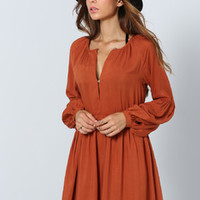 Rust Long Sleeve Pleated Dress | MakeMeChic.COM