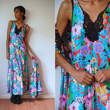 Vtg Vanity Fair 2 Piece Retro Floral Print Slip Dress & Full Robe