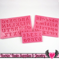 SILICONE MOLDS Full Alphabet Upper & Lower Case Letters and Numbers Food Grade