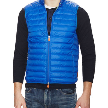 Save the Duck Men's Quilted Vest with Travel Pouch - Bright Blue -