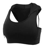ONETOW Professional Sports Hoodie Fitness Women Yoga Top Sexy Push-up Sports Hooded Bra Yoga Fitness Vest Bra Workout Running Top Bra